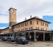 Οικοδόμηση του σιδηροδρομικού σταθμού στο ST Moritz, Ελβετία Στοκ Εικόνα