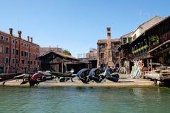Οικοδόμοι γονδολών Squero και επισκευές, Βενετία Στοκ φωτογραφία με δικαίωμα ελεύθερης χρήσης