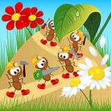 Οικοδόμοι μυρμηγκιών με τα εργαλεία Στοκ εικόνες με δικαίωμα ελεύθερης χρήσης