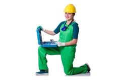 Οικοδόμος γυναικών με το κουτί εργαλείων που απομονώνεται στο λευκό Στοκ φωτογραφία με δικαίωμα ελεύθερης χρήσης