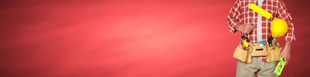 Οικοδόμος handyman με τον κύλινδρο χρωμάτων Στοκ εικόνες με δικαίωμα ελεύθερης χρήσης
