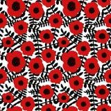 Οι άνευ ραφής floral μαύροι κλαδίσκοι λουλουδιών παπαρουνών σχεδίων συρμένοι χέρι αφηρημένοι κόκκινοι αφήνουν το άσπρο υπόβαθρο,  Στοκ Εικόνες