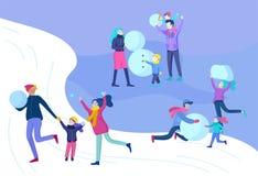 Οι άνθρωποι έντυσαν στα χειμερινό ενδύματα ή outerwear εκτελώντας την υπαίθρια διασκέδαση δραστηριοτήτων Φεστιβάλ χιονιού Ζεύγος  διανυσματική απεικόνιση