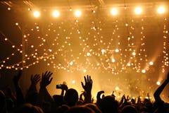 Οι άνθρωποι έχουν τη διασκέδαση σε μια συναυλία στοκ εικόνες