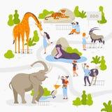 Οι άνθρωποι αγαπούν και εξετάζουν τα άγρια ζώα στο σύνολο ζωολογικών κήπων διανυσματικών απεικονίσεων στο επίπεδο σχέδιο που απομ απεικόνιση αποθεμάτων