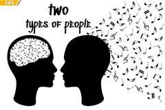 Οι άνθρωποι αντιλαμβάνονται τη μουσική διαφορετικά musical talent Μουσική στα goosebumps Μουσικό δώρο απεικόνιση αποθεμάτων