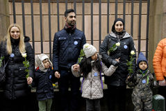 Οι άνθρωποι αλυσοδένουν για τους Εβραίους στη Δανία Στοκ Εικόνες