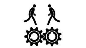 Οι άνθρωποι εικονιδίων τρέχουν και στρίβουν την αλληλεπιδρώντας εργασία ομάδων εργαλείων απεικόνιση αποθεμάτων