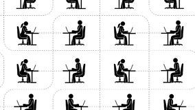 Οι άνθρωποι εικονογραμμάτων με τα lap-top κάθονται on-line στο σφαιρικό Διαδίκτυο απεικόνιση αποθεμάτων