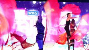 Οι άνθρωποι επισκέπτονται τη διακόσμηση του φεστιβάλ Χριστουγέννων και τονίζουν παρουσιάζουν στο εμπορικό κέντρο SiamParagon, Μπα απόθεμα βίντεο