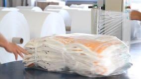 Οι άνθρωποι εργάζονται στη μεγάλη αποθήκη εμπορευμάτων με τα αγαθά στο εργοστάσιο απόθεμα βίντεο