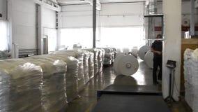 Οι άνθρωποι εργάζονται στη μεγάλη αποθήκη εμπορευμάτων απόθεμα βίντεο