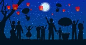 Οι άνθρωποι ημερομηνίας σκιαγραφούν την απεικόνιση μπαλονιών ταξιδιού ελεύθερη απεικόνιση δικαιώματος