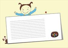 Ευτυχές gril με μια κενή επιστολή Στοκ Εικόνα