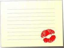 Κενή σημείωση με το φιλί Στοκ φωτογραφίες με δικαίωμα ελεύθερης χρήσης