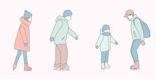 Οι άνθρωποι κάνουν πατινάζ στην αίθουσα παγοδρομίας πάγου στο πάρκο το χειμώνα συρμένες χέρι απεικονίσεις σχεδίου doodle ύφους δι στοκ φωτογραφία με δικαίωμα ελεύθερης χρήσης