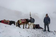 Οι άνθρωποι και τα άλογα στο χιονώδες Λα Thorong δίνουν στις 7 Απριλίου 2018 στοκ εικόνα με δικαίωμα ελεύθερης χρήσης