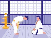 Οι άνθρωποι κατευθύνουν μέσα τη σκηνή dojo τεχνών απεικόνιση αποθεμάτων