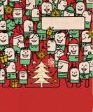 Οι άνθρωποι κινούμενων σχεδίων συσσωρεύουν και ευτυχής χρόνος Χριστουγέννων απεικόνιση αποθεμάτων