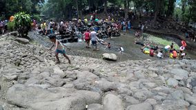 Οι άνθρωποι λούζουν στον κρύο και καθαρό δύσκολο ποταμό νερών πηγής βουνών απόθεμα βίντεο