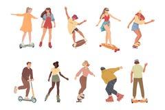 Οι άνθρωποι οδηγούν στο μόνος-ισορροπώντας μηχανικό δίκυκλο, skateboards, μηχανικά δίκυκλα, σαλάχια κυλίνδρων διανυσματική απεικόνιση