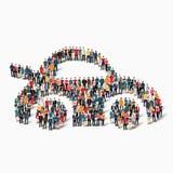 Οι άνθρωποι ομάδας διαμορφώνουν το αυτοκίνητο Στοκ Φωτογραφίες