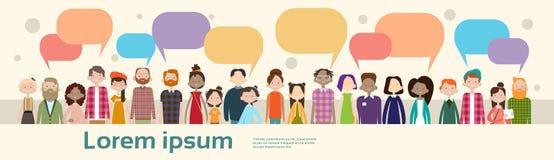 Οι άνθρωποι ομαδοποιούν το κοινωνικό δίκτυο πλήθους φυλών μιγμάτων επικοινωνίας φυσαλίδων συνομιλίας διανυσματική απεικόνιση