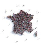 Οι άνθρωποι ομαδοποιούν το χάρτη Γαλλία μορφής Στοκ εικόνες με δικαίωμα ελεύθερης χρήσης