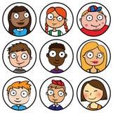 Οι άνθρωποι παιδιών αντιμετωπίζουν τα κινούμενα σχέδια εικονιδίων Στοκ εικόνα με δικαίωμα ελεύθερης χρήσης