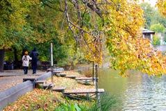 Οι άνθρωποι περπατούν σε ένα πάρκο φθινοπώρου. Στοκ Εικόνες