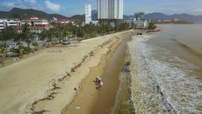 Οι άνθρωποι περπατούν στην παραλία θάλασσας μεταξύ των απορριμάτων ψάχνουν τα πράγματα απόθεμα βίντεο