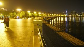Οι άνθρωποι πλήθους στη νύχτα περπατούν κατά μήκος του αναχώματος της οδού πόλεων Χρονικό σφάλμα φιλμ μικρού μήκους