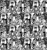 Οι άνθρωποι πλήθους συμπαθούν το άνευ ραφής σχέδιο γατών και σκυλιών διανυσματική απεικόνιση