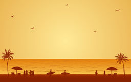 Οι άνθρωποι σκιαγραφιών με την ιστιοσανίδα στην παραλία κάτω από το υπόβαθρο ουρανού ηλιοβασιλέματος στο επίπεδο εικονίδιο σχεδιά Στοκ φωτογραφίες με δικαίωμα ελεύθερης χρήσης