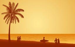 Οι άνθρωποι σκιαγραφιών με την ιστιοσανίδα στην παραλία κάτω από το υπόβαθρο ουρανού ηλιοβασιλέματος στο επίπεδο εικονίδιο σχεδιά Στοκ φωτογραφία με δικαίωμα ελεύθερης χρήσης