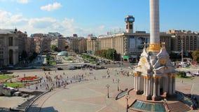 Οι άνθρωποι στην ανεξαρτησία τακτοποιούν στο Κίεβο απόθεμα βίντεο