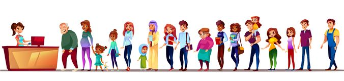 Οι άνθρωποι στην υπεραγορά περιμένουν στη σειρά τη διανυσματική απεικόνιση ελεύθερη απεικόνιση δικαιώματος