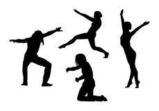Οι άνθρωποι στις σκιαγραφίες κινήσεων θέτουν 5 Στοκ Εικόνες