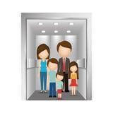 Οι άνθρωποι στον ανελκυστήρα σχεδιάζουν απεικόνιση αποθεμάτων