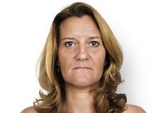 Οι άνθρωποι στούντιο πυροβολούν το πορτρέτο που απομονώνεται στο λευκό Στοκ Εικόνες