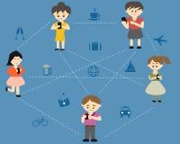 Οι άνθρωποι συνδέουν με κινητό Στοκ Εικόνες