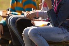 Οι άνθρωποι τρώνε έξω στο πάρκο Στοκ φωτογραφία με δικαίωμα ελεύθερης χρήσης