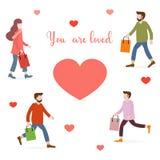 Οι άνθρωποι φέρνουν τα δώρα για τους αγαπημένους αυτούς στενό μήνυμα αγάπης που αυξάνεται ελεύθερη απεικόνιση δικαιώματος