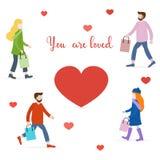 Οι άνθρωποι φέρνουν τα δώρα για τους αγαπημένους αυτούς στενό μήνυμα αγάπης που αυξάνεται διανυσματική απεικόνιση