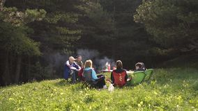 Οι άνθρωποι χαλαρώνουν στη φύση γύρω από την πυρκαγιά στο ηλιοβασίλεμα απόθεμα βίντεο