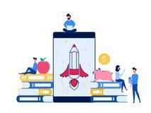 Οι άνθρωποι χρησιμοποιούν το lap-top, smartphone για να μάθουν τη σε απευθείας σύνδεση εκπαίδευση ε-εκμάθησης Σε απευθείας σύνδεσ Στοκ φωτογραφία με δικαίωμα ελεύθερης χρήσης