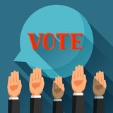 Οι άνθρωποι ψηφίζουν με τα χέρια τους που αυξάνονται Πολιτική απεικόνιση εκλογών για τα εμβλήματα, τους ιστοχώρους, τα εμβλήματα  Στοκ Εικόνες