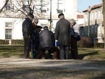 Οι άνθρωποι Eldery παίζουν τις κάρτες στον κήπο Στοκ φωτογραφία με δικαίωμα ελεύθερης χρήσης
