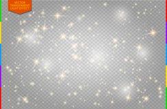 Οι άσπροι σπινθήρες και τα χρυσά αστέρια ακτινοβολούν ειδική ελαφριά επίδραση (διαφάνεια με το πρόσθετο σχήμα μόνο) Στοκ φωτογραφίες με δικαίωμα ελεύθερης χρήσης