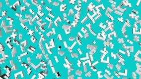 Οι άσπροι τρισδιάστατοι αριθμοί από τους κύβους πετούν αργά σε ένα τυρκουάζ r απόθεμα βίντεο